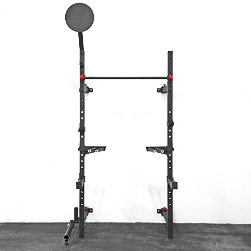 Wall Mount Foldable Squat Rack with Accessories (Pullup Bar, Dip Station, Landmine, Wall Ball Target, Spotter Arms, J-Cups, & Bar Storage) / Weightlifting Equipment by Fringe Sport