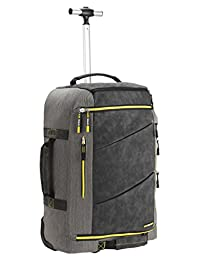 Cabin Max Manhattan 55x40x20 Hybrid Trolley Backpack Flight Approved hand luggage(Grey/Yellow)