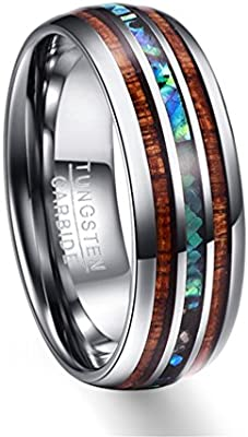 Moliston 8mm Hawaiian Koa Wood And Abalone Shell Tungsten Carbide