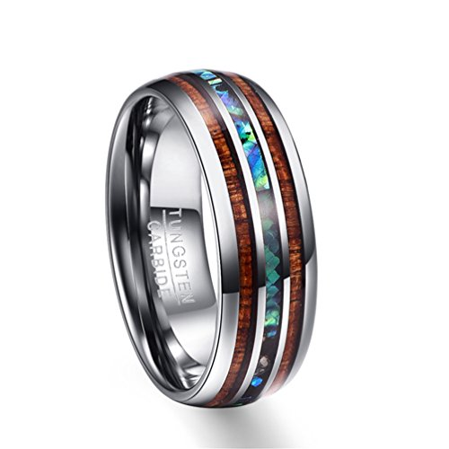 - Moliston 8mm Hawaiian Koa Wood and Abalone Shell Tungsten Carbide Rings Wedding Bands for Men Comfort Fit Size 5-14