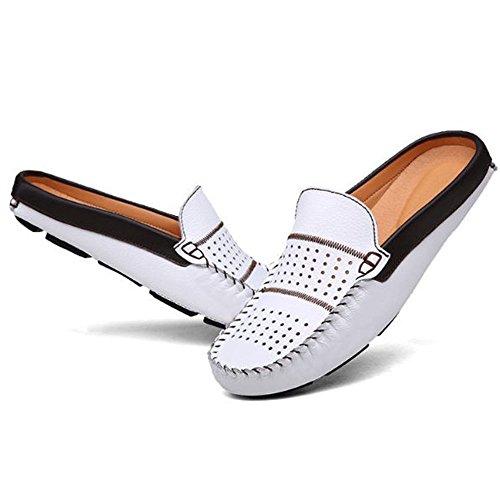 de Haba los Zapatos de Zapatos Casuales Hombres de Cuero Blanco Medio Dedo de Ocasionales 4wx61q6X