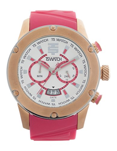 TechnoSport Unisex TS-750-12 Pink Silicon Strap Watch, Gold Bezel and White &...