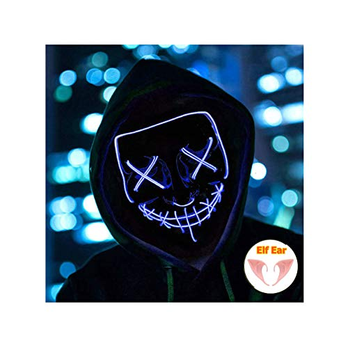 Halloween Mask Light up Mask Cosplay LED Mask Frightening Purge Mask for Festival Cosplay Halloween Parties Costume (Blue)
