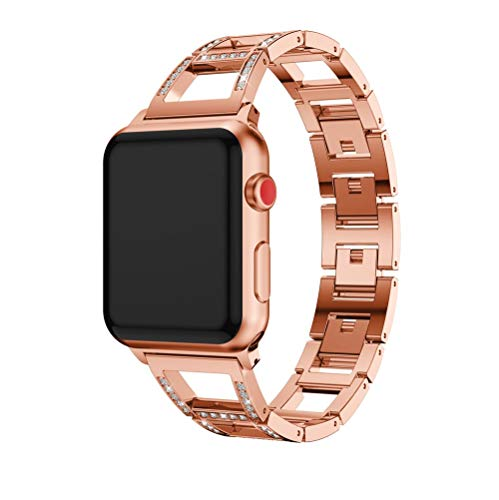 Sunbona Band for Apple Watch 38mm, Stainless Steel Crystal Strap Bracelet Wristband for Apple Watch Series 3, Series 2, Series 1, Sport Edition (Rose Gold)