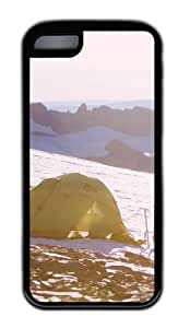 Customized Case landscapes nature snow camp 23 TPU Black for Apple iPhone 5C