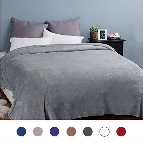 Bedsure Flannel Fleece Luxury Blanket Grey Queen Size Lightw