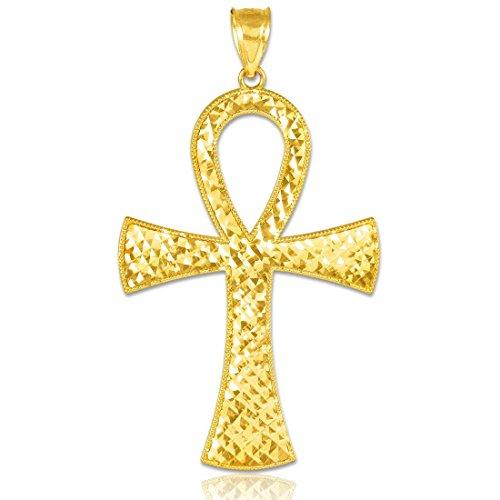 Égyptien Ankh Croix Femme Or jaune 14K égyptienne Ankh Croix Pendentif or