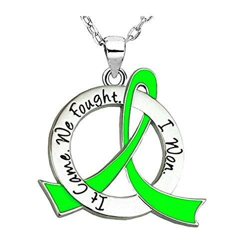 It Came. We Fought. I Won. Survivor Necklace Lymphoma Lyme Disease (Lime Green Ribbon) -