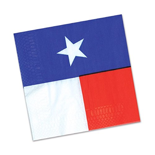 Club Pack of 192 Blue, Red and White Texas Star 2-Ply Disposable Party Luncheon Napkins