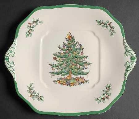 Spode Christmas Tree-Green Trim Square Handled Cake Plate, Fine China Dinnerware