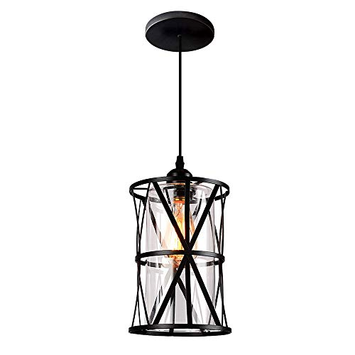 Modern Pendant Light Fixtures - HMVPL Industrial Pendant Light Fixtures, Adjustable Modern Farmhouse Style Swag Hanging Chandelier with Glass Lampshade for Kitchen Island Bed Room Hallway Bar