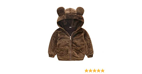 Baby Boy Bear Jacket Toddler Outerwear Hoodies Coat Dark Brown 3-36m