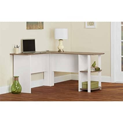 L Shaped Desk With Side Storage (White/Sonoma Oak)