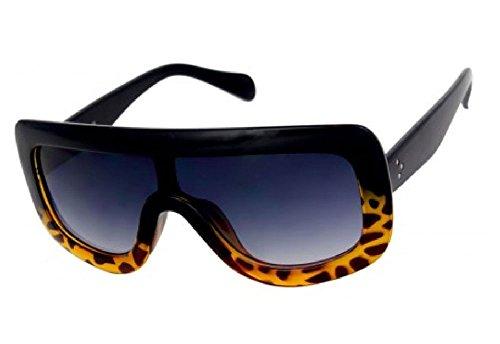 Big Shield Celebrity Designer Adele Flat Top Women's Sunglasses (Black-BrownBottom, Black) ()