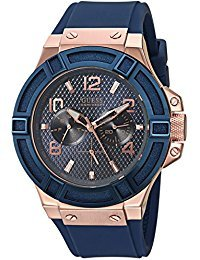GUESS-Mens-Blue-and-Rose-Gold-Tone-Rigor-Standout-Casual-Sport-Watch