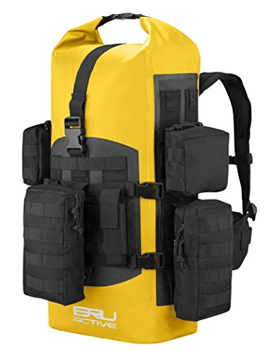 BRU Active Premium Dry Bag PVC Waterproof Backpack - Black 40L Sizes Zippers, Drawstring, Heavy Duty Adjustable Straps Kayaking, Boating, Hiking, Water Sports, Fishing ... (Yellow)