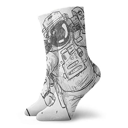 YUANSHAN Socks Hand Paint Astronaut Women & Men Socks Soccer Sock Sport Tube Stockings Length 11.8Inch]()