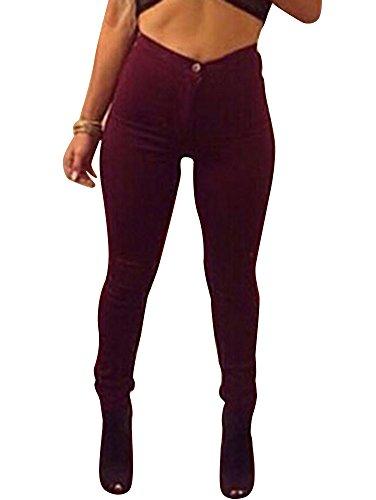 Fit Skinny Pantalon Del Alta Vaqueros Elásticos Cintura Pantalones Mujer rojo Vino Lápiz De 4Bddwq5FSx