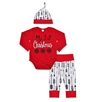 Christmas Infant Baby Boy Girl Outfits Romper Pants+hat+Clothes set