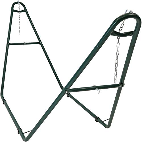 Sunnydaze 550-Pound Capacity Universal Multi-Use Heavy-Duty Steel Hammock Stand, 2 Person, Fits Hammocks 9 to 14 Feet Long, Green