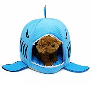 Pet bed, KAMIER Shark Round Washable Soft Cotton Dog Cat Pet Bed-Blue,L by KAMIER
