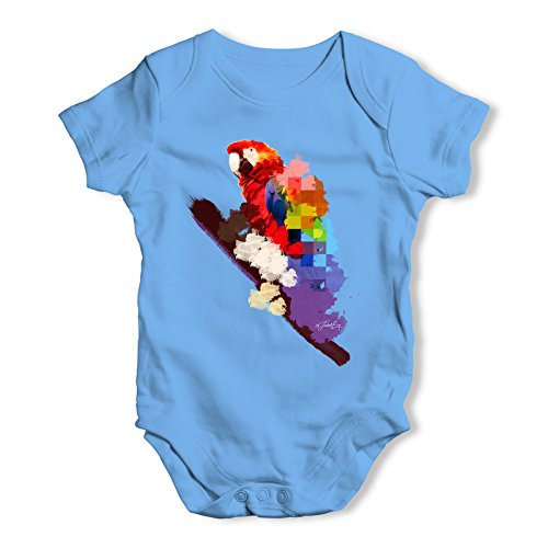 Twisted Envy Watercolour Pixel Rainbow McCaw Parrot Baby Unisex Blue Baby Grow Bodysuit 0 - 3 Months