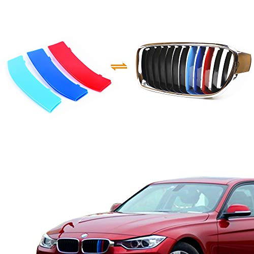 Jackey Awesome Exact Fit ///M-Colored Grille Insert Trims For 2013-2018 BMW F30 3 Series and F32 4 Series Regular Kidney Grill (For BMW 2013-2018 3 Series & 4 Series,11 Beams)