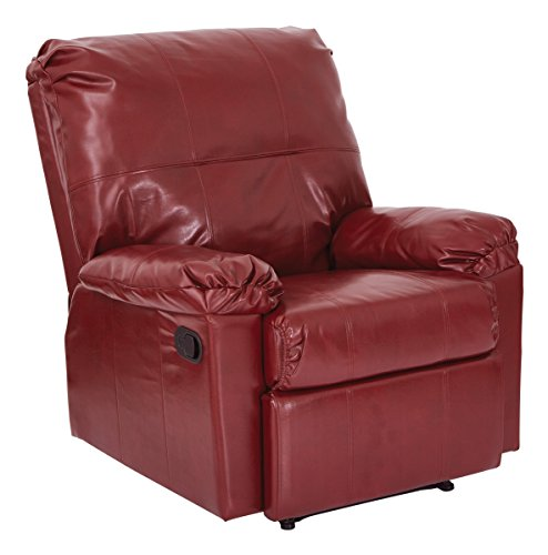 Office Star Kensington Bonded Leather Recliner, (Crimson Merlot)