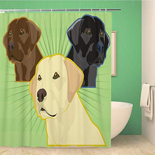 Awowee Bathroom Shower Curtain Yellow Lab Various Labrador Retriever Dogs Golden Chocolate Blind Polyester Fabric 72x78 inches Waterproof Bath Curtain Set with Hooks