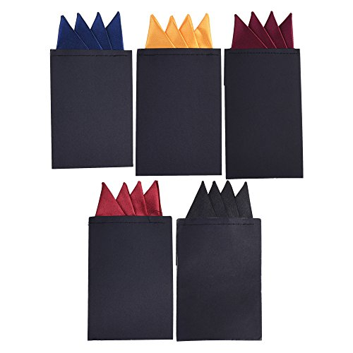 - BCP 5pcs Pre Folded Satin Pocket Square Necktie On Card Bouquet Black Dark Red Dark Blue Yellow PurpleRed (Pack D Mountain Shape)