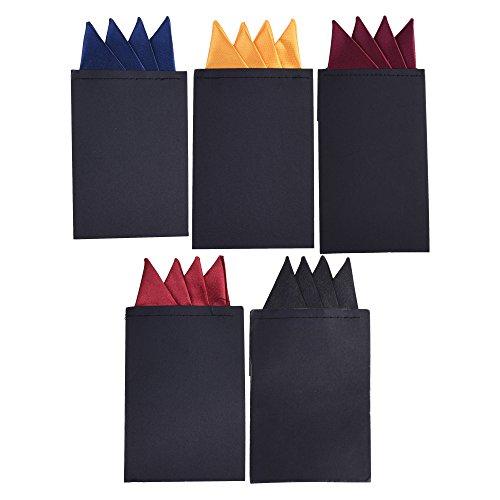 BCP 5pcs Pre Folded Satin Pocket Square Necktie On Card Bouquet Black Dark Red Dark Blue Yellow PurpleRed (Pack D Mountain Shape)