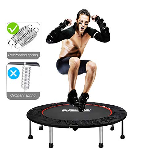 DlandHome 40 Inch Trampoline Fitness Workout Trampoline Foldable Exercise Trampoline for Adults or Kids Rebounder Trampoline with Safety Pad for Home Office (Best Mini Trampoline Reviews)