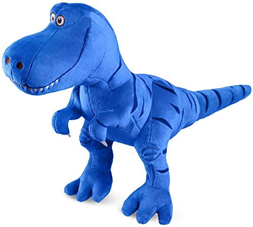Marsjoy Blue Stuffed Dinosaur Plush Toy, Plush Dinosaur Stuffed Animal, Tyrannosaurus Rex Dinosaur Toy for Baby Girl Boy Kids Birthday Gifts, 11×5×13.9 inch