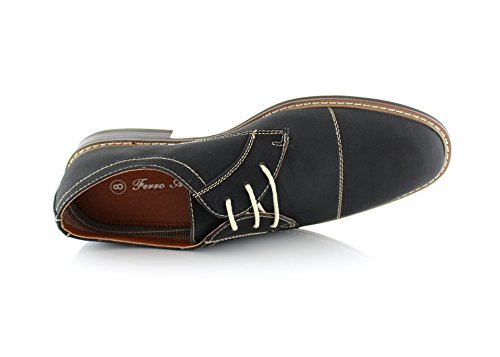 Ferro Jason Mfa19275 Menns Oxford Kjole Sko For Arbeid Eller Casual Wear Black / Teksturert
