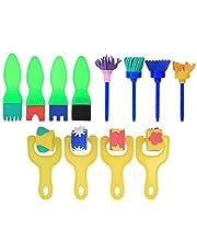 Oumefar 12 gąbki malowanie pędzle gąbka malowanie wałkiem pędzel do malowania dzieci narzędzia do malowania edukacyjne zabawki