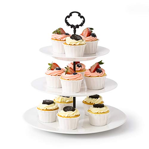 3 Tier Cupcake Stand Porcelain Cake Stand for Parties Round Serving Platter Perfect for Appetizer Dessert and -