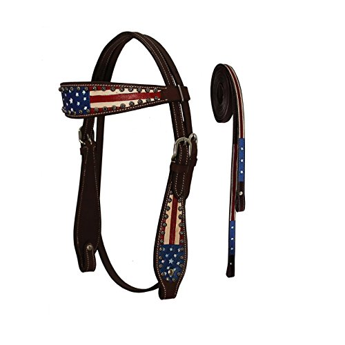 Tahoe Western Patriotic American Flag Browband Horse Headstall with Reins (Mini) (Mini Horse Reins)