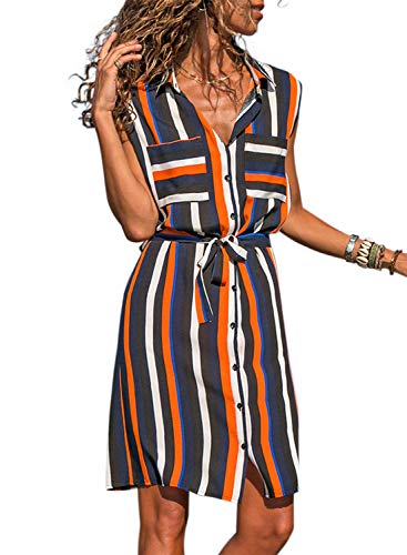 Asvivid Womens Lapel V-Neck Multicolor Striped Ladies Button Up Pocket Front Work Party Sundress Plus Size 1X Navy