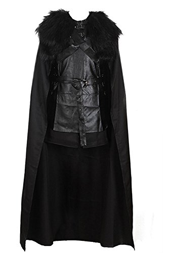 VOSTE Jon Snow Costume Black PU Jacket Full Outfits with Gloves for Men (Large) -