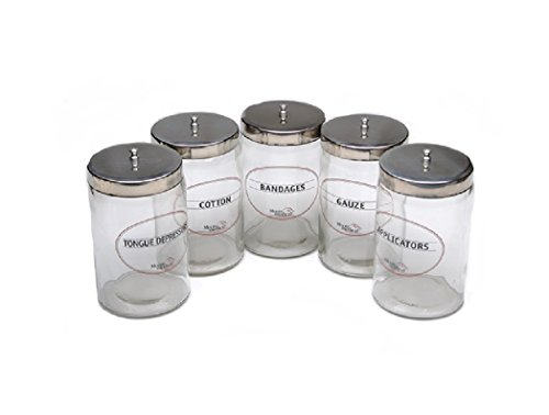 Moore Medical Sundry Jars Glass - Labeled - Model 84466 - Set of 5