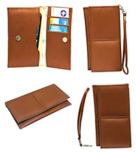 J Cover A5 G12 Leather Wallet Universal Pouch Cover Case For Wiko Lenny3 Tan