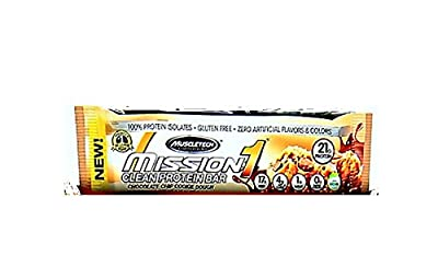 Muscletech Mission Clean Protein Bar, Chocolate Chip Cookie Dough, 4 Bars (Pack of 2)