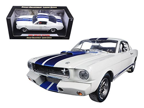 1965 Ford Shelby Mustang GT 350R White with Blue Stripes and Printed Carrol Shelby Signature on the Roof 1/18 by Shelby Collectibles SC168-1