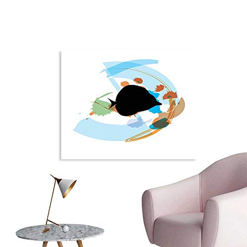 (J Chief Sky Fish Mural Decoration Silhouette of a Discus Cichlid in a Partly Illustrated Bowl Cartoon in Pastel Colors Wall Art Stickers W48 xL32 )