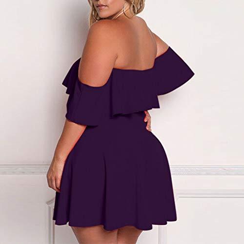 LIM&Shop Women Plus Size Off The Shoulder Scallop Hem Party Short Dresses Summer Tunic Casual Mini Dress Sundress Swing Purple