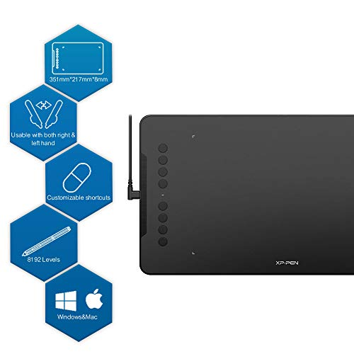XP-PEN Deco 01 Graphics Drawing Tablet, Graphic Tablets with 8 Shortcut Keys, Battery-Free Passive Stylus of 8192 Levels Pressure Large Drawing Space Graphic Tablet for Digital Art Design