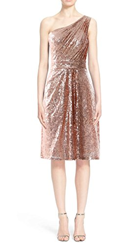 MACloth Women One Shoulder Sequin Cocktail Dress Short Bridesmaid Fomral Gown Verde Oscuro