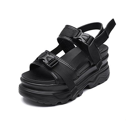 厚底サンダル レディース 歩きやすい 厚底靴 スポーツサンダル マジックテープ ベロクロ カジュアル おしゃれ 夏 通気 軽量 日常 美脚 身長up 約8cmヒール ホワイト ブラック