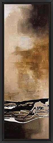 14in x 38in Tobacco & Chocolate III by Laurie Maitland - Black Floater Framed Canvas w/ BRUSHSTROKES