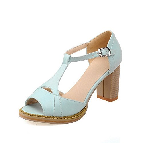 Kitten Peep Heels Toe Blue AllhqFashion Sandals Solid Pu Buckle Women's xwaBHgqT